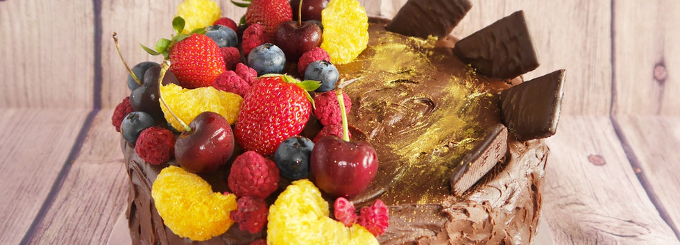 Summer fruit chocolate cake