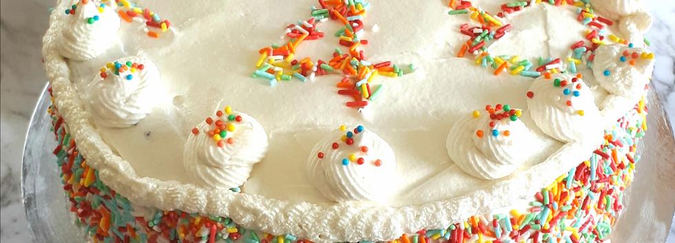 Vanilla sprinkles cake