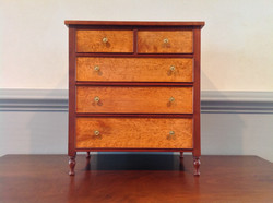 Mini Sheraton Chest-Cherry with Birds Eye Drawer Fronts