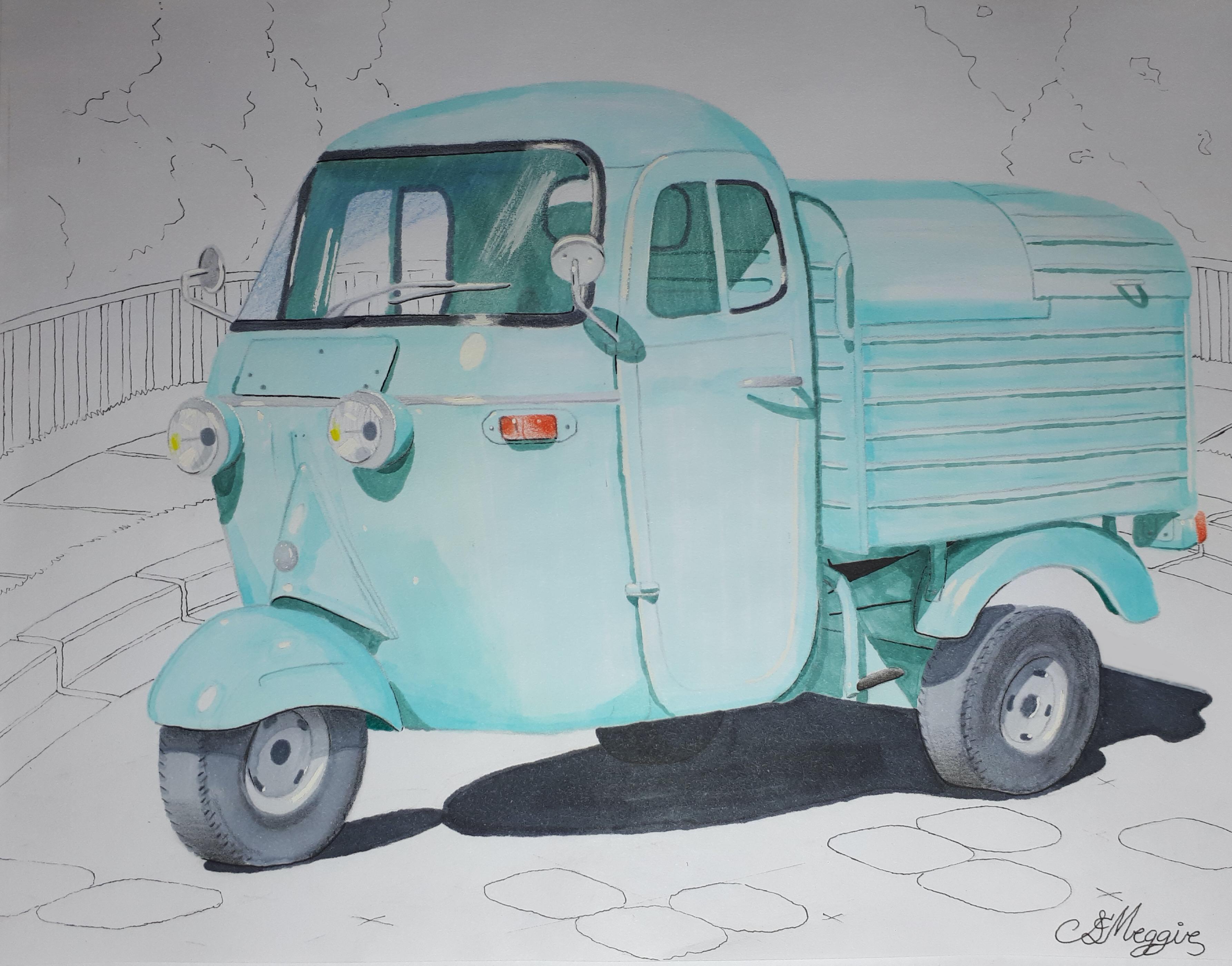 1963 Piaggio Ape Marker Rendering