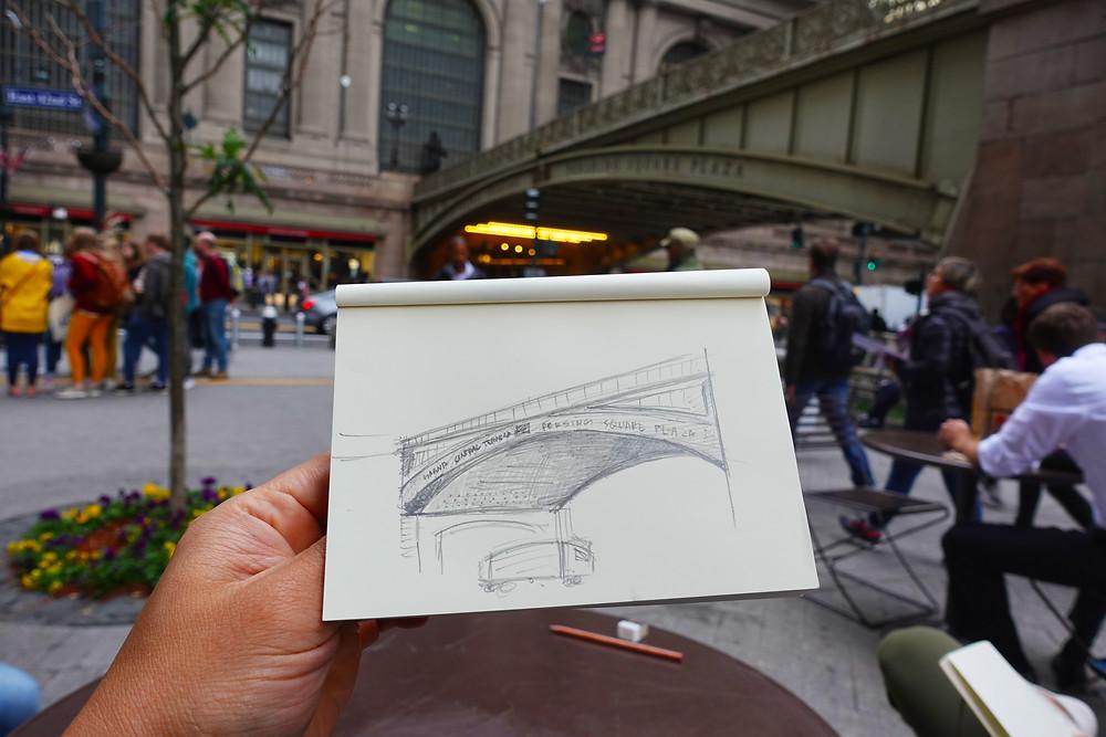 Desenho da Grand Central Station em Nova York feito durante a experiência Sketch and The City