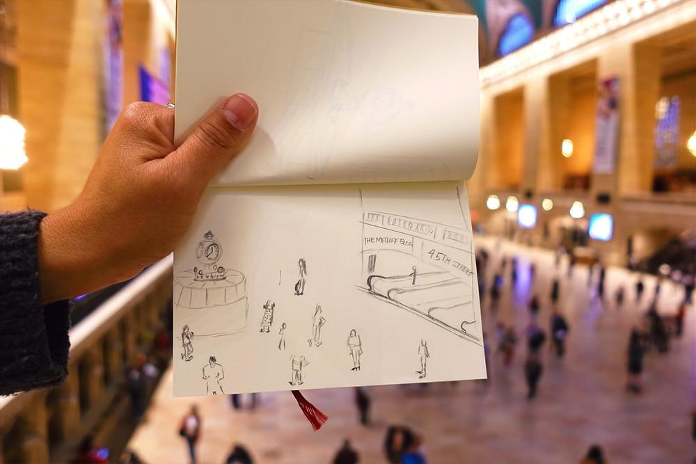 Desenho da Estação Grand Central em Nova York feito durante a experiência Sketch and the city