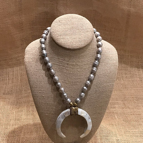 "19"" Grey Freshwater Baroque Pearls with Bone Pendant"