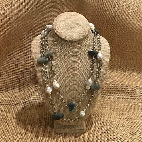 """46"""" Silver Plated Chain on Labradorite & Freshwater Pearls"""