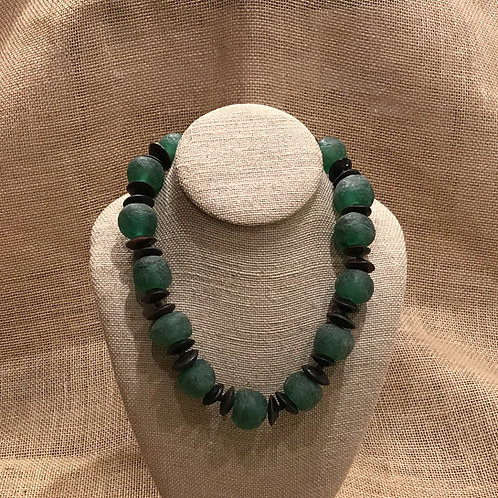 "19"" Green African Recycled Glass & Bone"