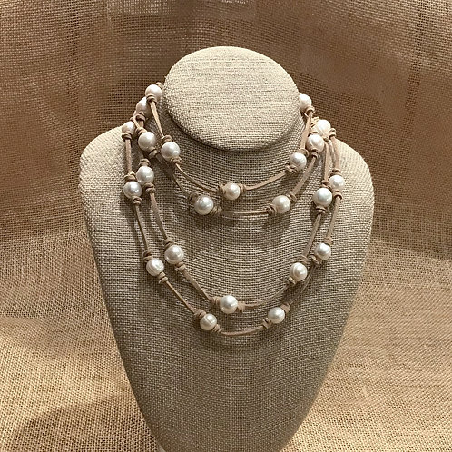 """75"""" Freshwater Pearl on Suede Lariat"""
