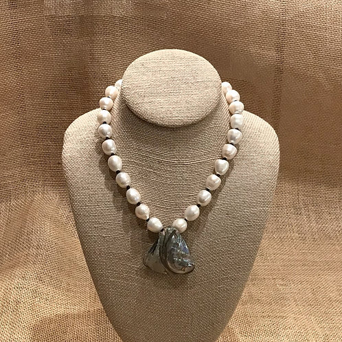 """17"""" Freshwater Pearl with Abalone Crystal Pendant"""