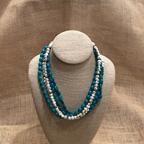 "18"" 5 Strand Freshwater Pearls & Howlite"