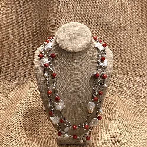"54"" Silver Plated Chain on Freshwater Pearls & Carnelian"