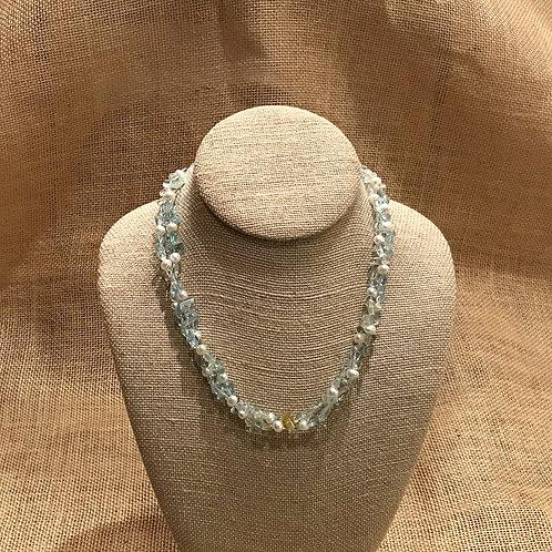 "17"" Double Strand Aquamarine & Freshwater Pearl"
