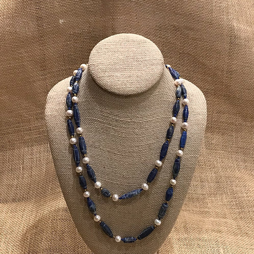 """44"""" Hand Knotted Lapis & Freshwater Pearl"""