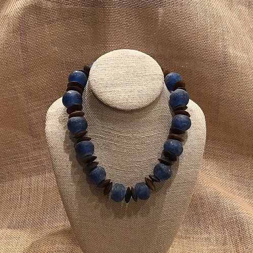 "18"" Blue African Recycled Glass & Bone"