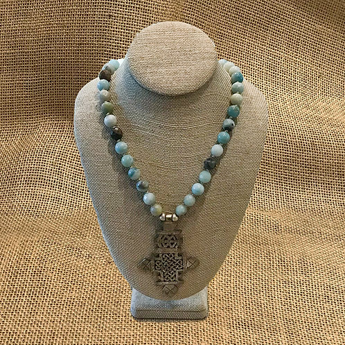 "32"" Hand knotted Amazonite with Pewter Pendant"