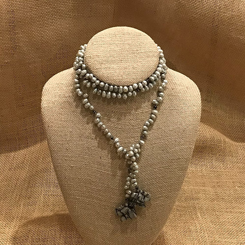 "30"" Grey Freshwater Pearl with Elephant Endings"