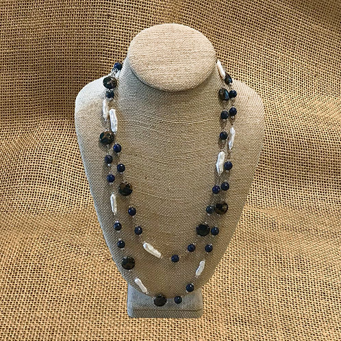"48"" Lapis, Freshwater Pearls, Blue Jasper Swarovski Crystal"