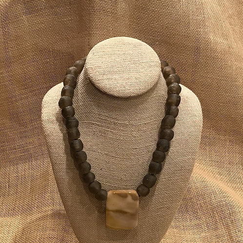 """19"""" Brown African Recycled Glass & Jasper Pendant"""