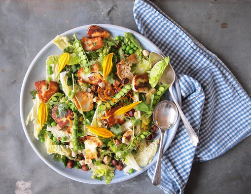 Haloumi + Toasted Hazelnut Salad