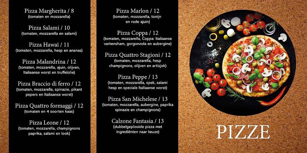 Afhaalmenu Pizze
