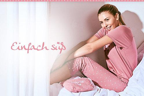 """Lous & Louisa Pyjama Damen Capri """"Einfach süß"""", oldrose allover"""