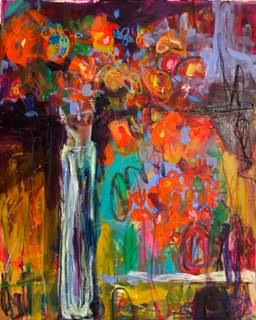 RED FLOWERS IN TALL VASE  - Kelly Leonard