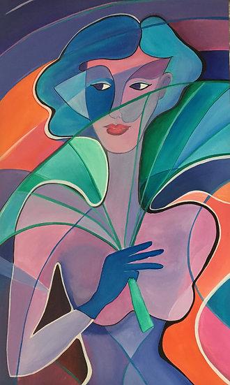 FEMME A L'EVENTAIL - Catherine Paridans