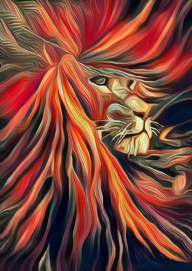 SUNSET SAFARI LION - Dawn Marie Hoskins