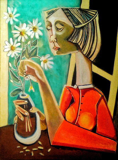 WOMAN WITH WHITE FLOWERS -Saba Safari