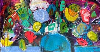 FLOWERS IN A BLUE VASE  - Kelly Leonard