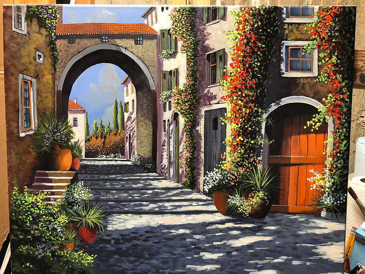 TUSCAN MORNING IN THE VILLAGE - Marc Harvill