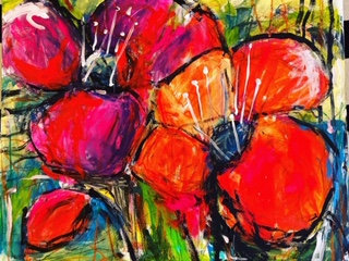 ABSTRACT RED POPPIES 2  - Kelly Leonard