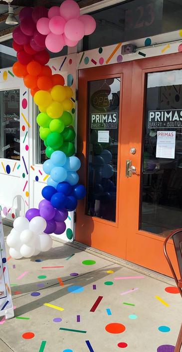 Rainbow balloon garland