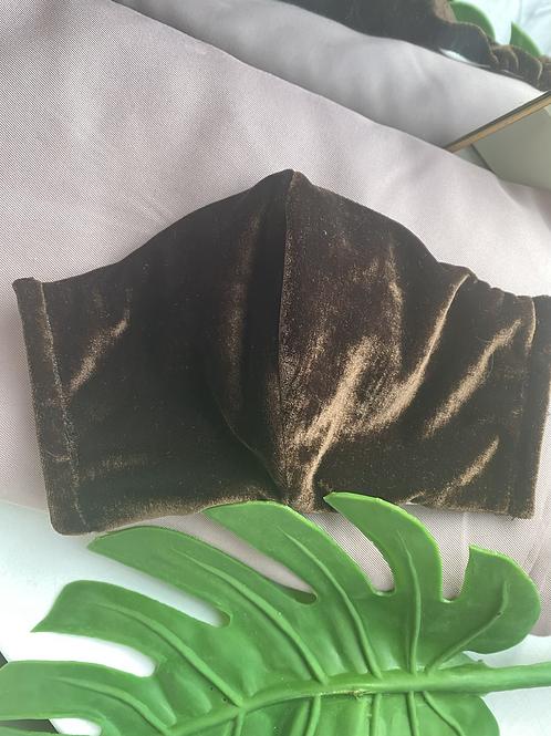 Mondkap fluweel bruin met filter/wasbaar