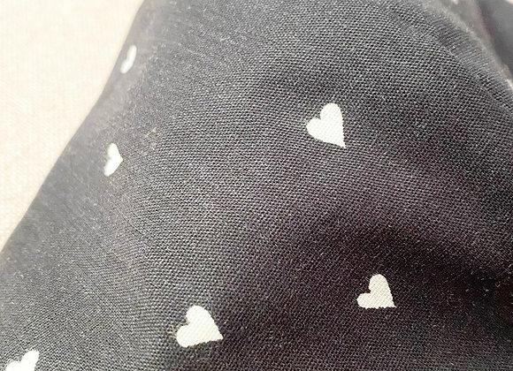 Mondkap hartje zwart met filter/ wasbaar