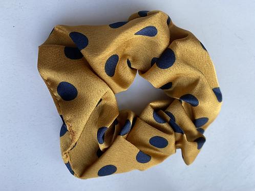 Scrunchie geel met zwarte stippen