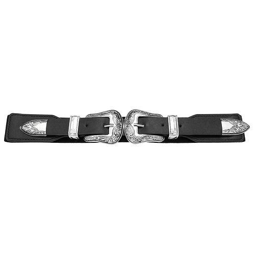 Belt double cowboy buckle