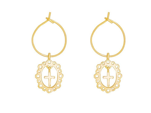 Earrings antique cross