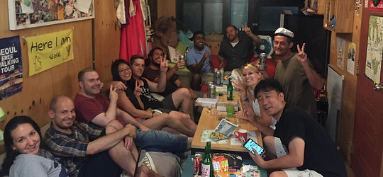 drinking soju & chimac with travellers in the seoul house