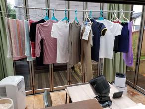梅雨時期のガーデンルームはランドリールームとして使えます。
