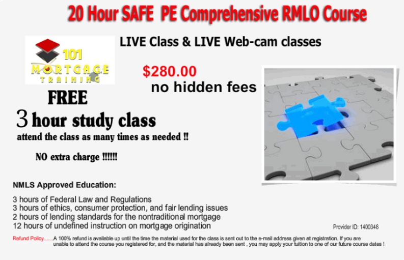 101mortgage training, 20hr SAFE PE, Free for life study class