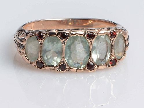 5 Stone Art Deco Signature Ring Aquamarine with Garnet
