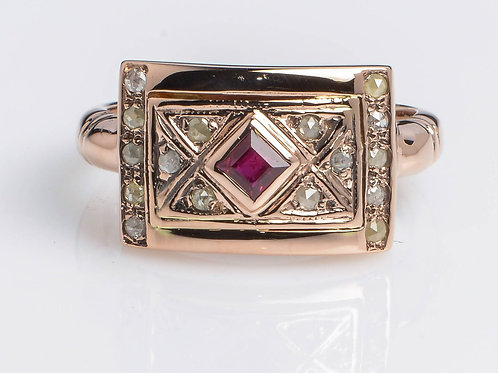 Frame ring with Garnet and Rose Cut Diamonds