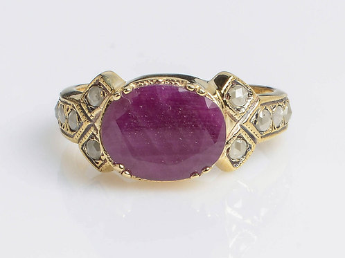 Central Ruby and Rose Cut Diamonds Ring