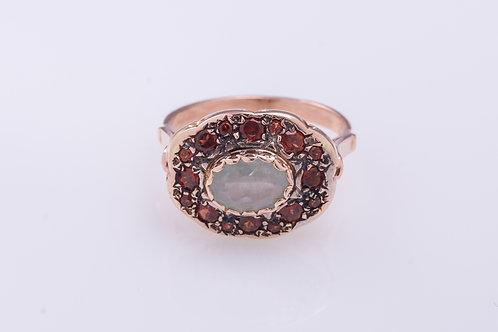 Milky Aquamarine and Garnet Oval Ring