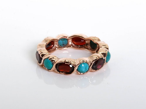 Oval Garnet and Turquoise Eternity Ring