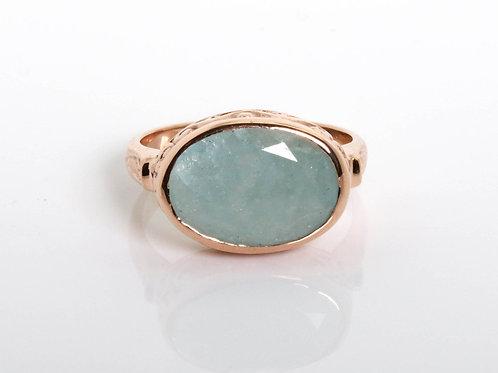 Oval Polished Engraved Aquamarine Ring