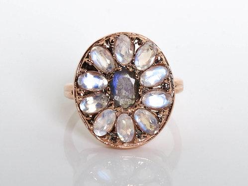 Oval Mandala Moonstone Ring