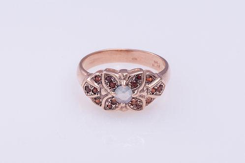 Aquamarine Flower Ring with Garnet Petals