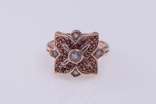 Labradorite Flower Mandala Ring