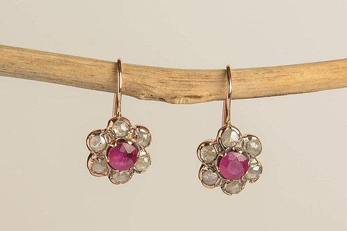 Rose Cut Diamonds and Ruby Drop Earrings