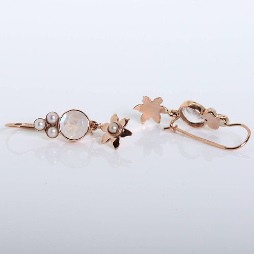 Rose Gold Dangling Earrings with a Round Central Moonstone